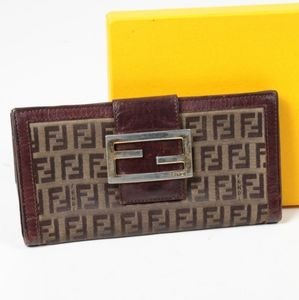 Fendi Zucca Canvas and Leather Continental Wallet